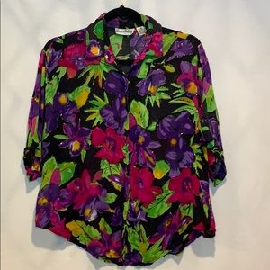 80s Vintage Jane Ashley Oversized Floral Rayon Top